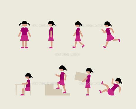 半袖の女の子(いろいろな行動)の素材 [FYI01157061]
