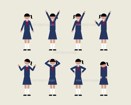 セーラー服の女子(いろいろな感情)の素材 [FYI01157074]