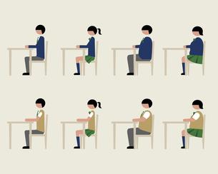 ブレザー服の学生(イスに座る)の素材 [FYI01157101]
