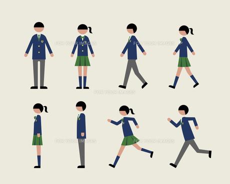 ブレザーの学生(歩く・走る・横)の素材 [FYI01157149]