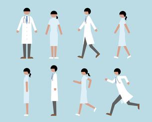 医者・看護師(歩く・走る・横)の素材 [FYI01157163]