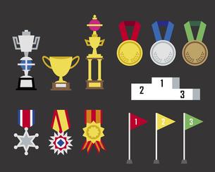 いろいろなトロフィー、メダル、表彰の素材 [FYI01157174]