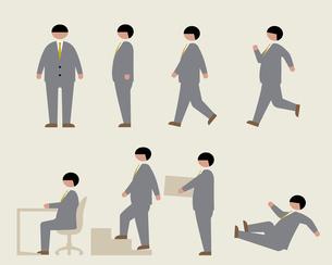 肥満のビジネスマン(いろいろな行動)の素材 [FYI01157175]