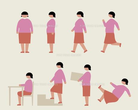 肥満の女性(いろいろな行動)の素材 [FYI01157181]