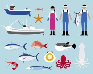 漁業者と魚の素材 [FYI01157209]