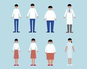 肥満・やせ形・普通体型の男女、医者と看護師の素材 [FYI01157242]