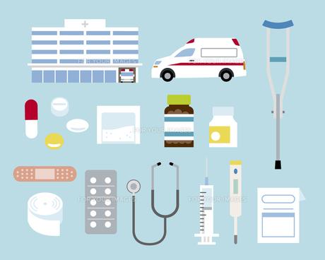 病院と病院モチーフセットの素材 [FYI01157271]