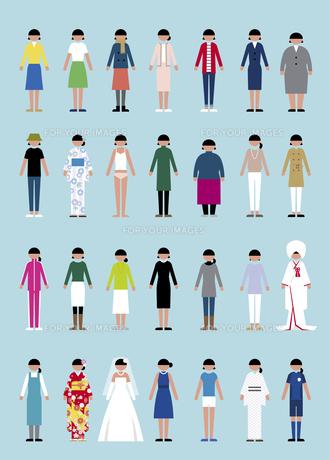 様々な服装の女性セットの素材 [FYI01157312]