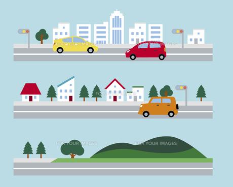道路が走る街並みの素材 [FYI01157343]