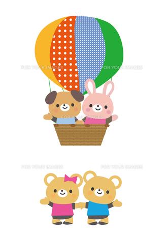 気球に乗った動物たちの素材 [FYI01157344]