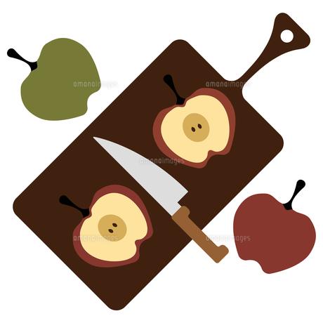 リンゴとカッティングボードのイラスト素材 [FYI01159002]
