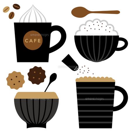 カプチーノとカフェラテとクッキーのイラスト素材 [FYI01159005]