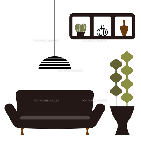 ソファーと観葉植物のあるインテリアのイラスト素材 [FYI01159007]