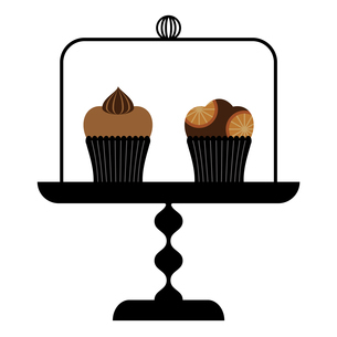 ケーキドームとカップケーキのイラスト素材 [FYI01159008]