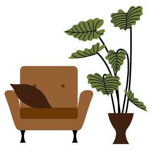 ソファーと観葉植物のイラスト素材 [FYI01159010]