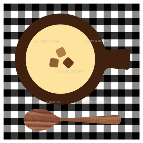 コーンスープと木のスプーンのイラスト素材 [FYI01159011]