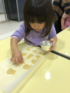 クッキー作りをする女の子の写真素材 [FYI01159240]