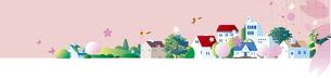 さくら咲く街並みのイラスト素材 [FYI01159598]
