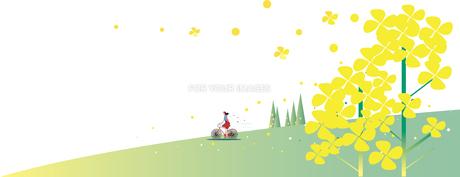 菜の花を自転車に乗って見るのイラスト素材 [FYI01159665]