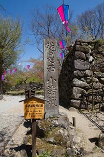 春の懐古園の小諸領境界石標の写真素材 [FYI01160888]