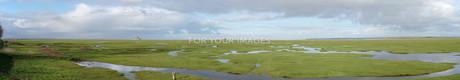 (パノラマ)モンサンミッシェルを望む風景の写真素材 [FYI01161220]