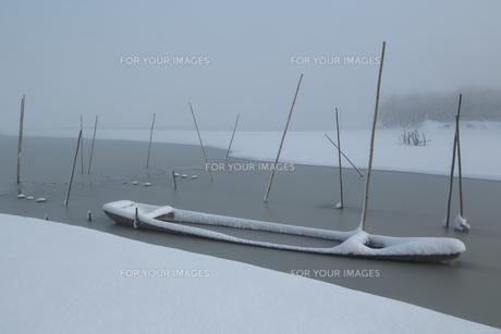 雪中の木舟の写真素材 [FYI01161312]