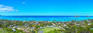 ハワイ、ピルボックス・トレイルから見たラニカイビーチのパノラマの写真素材 [FYI01162187]