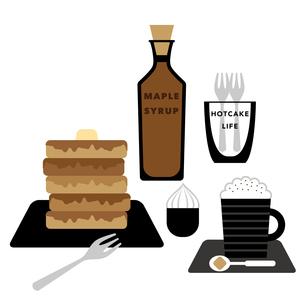 ホットケーキとカプチーノのイラスト素材 [FYI01162241]