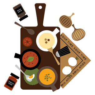 スープとカッティングボードのイラスト素材 [FYI01162246]