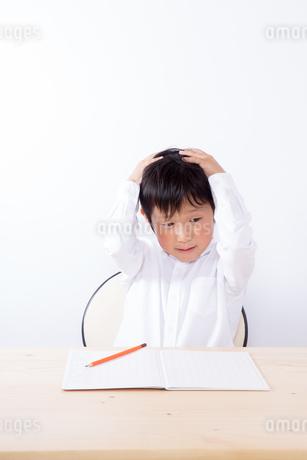 勉強で悩む少年の写真素材 [FYI01163908]