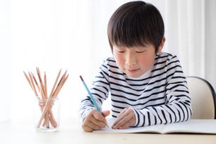 勉強をする少年の写真素材 [FYI01164446]