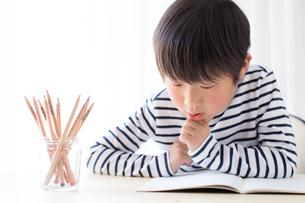 勉強をする少年の写真素材 [FYI01164450]