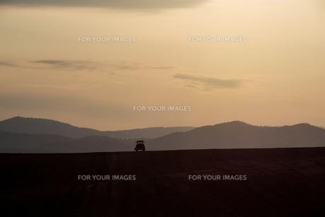 春の夕暮れの農作業の写真素材 [FYI01164572]