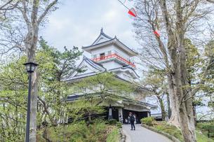 春の久保田城の御隅櫓の風景の写真素材 [FYI01166532]