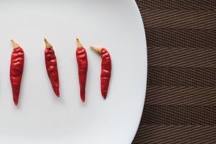 皿の上の唐辛子の写真素材 [FYI01166842]