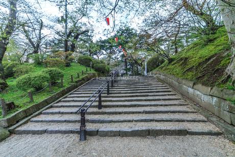 春の久保田城の裏門跡の風景の写真素材 [FYI01166858]