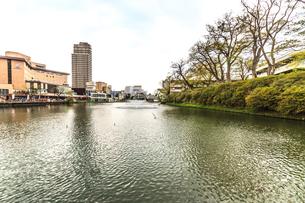 春の久保田城の穴門の堀の風景の写真素材 [FYI01166935]