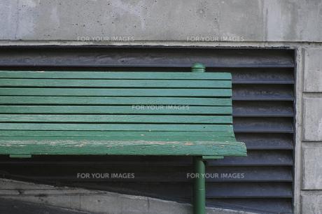 緑 ベンチ 木製 素材の写真素材 [FYI01167114]