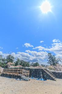 移転後の弘前城の春の天守台の風景の写真素材 [FYI01167568]