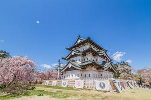 移転後の弘前城の春の天守の風景の写真素材 [FYI01167573]