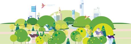 緑豊かな街並みのイラスト素材 [FYI01167679]