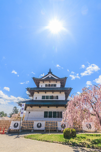 春の移転した弘前城の天守の風景の写真素材 [FYI01167724]