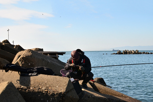和歌山湾の釣り人の写真素材 [FYI01168461]