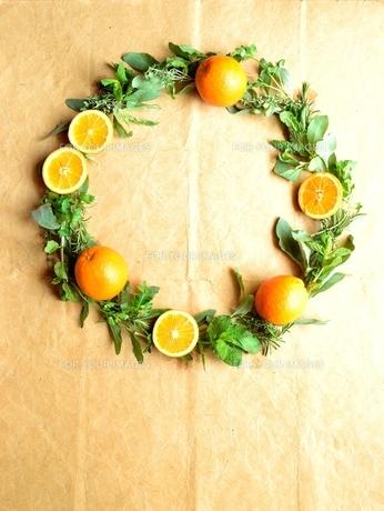 オレンジとハーブのリースの写真素材 [FYI01168581]