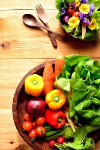 緑黄色野菜とエディブルフラワーのサラダの写真素材 [FYI01168598]
