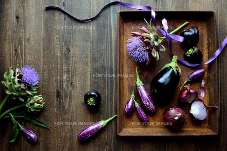 アーティーチョークの花と紫色の夏野菜と錆びたトレーの写真素材 [FYI01169029]