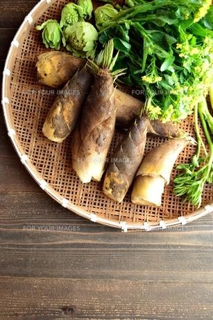 ざるに盛り合わせた筍と山菜の写真素材 [FYI01169072]