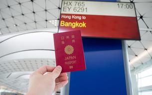 空港 フライトスケジュール パスポートの写真素材 [FYI01169952]