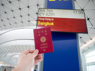 空港 フライトスケジュール パスポートの写真素材 [FYI01169953]