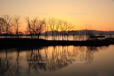 黄昏時の琵琶湖畔の写真素材 [FYI01170135]
